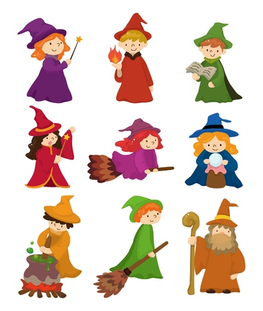 cartoon Wizard and Witch icon set  Vector