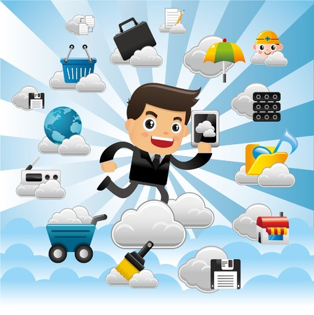 security service: Cloud network,with business man hold pad.