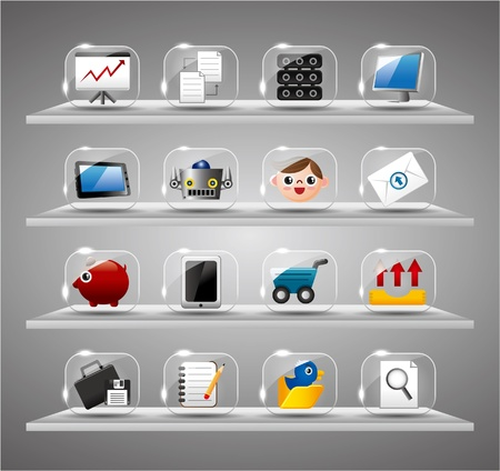 Website Internet Icons ,Transparent Glass Button Stock Vector - 10218183
