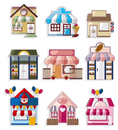 bakery shop: cartoon house  shop icons collection