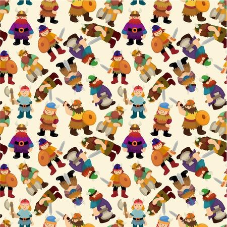 cartoon axe: cartoon vikings pirate seamless pattern  Illustration