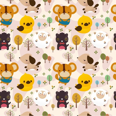 Cartoon animal seamless pattern Stock Vector - 10232861