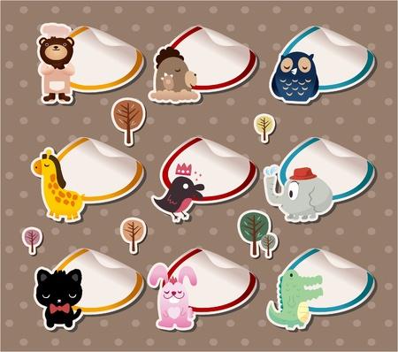 cartoon animal Label Stickers