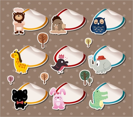 cartoon animal Label Stickers Vector