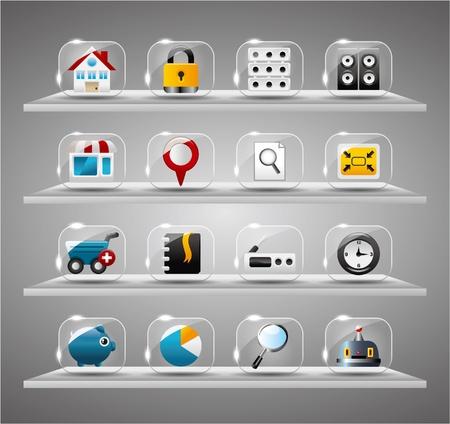 clock radio: Sitio Web Internet iconos, bot�n de vidrio transparente