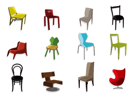 antique chair: cartoon chair furniture icon set
