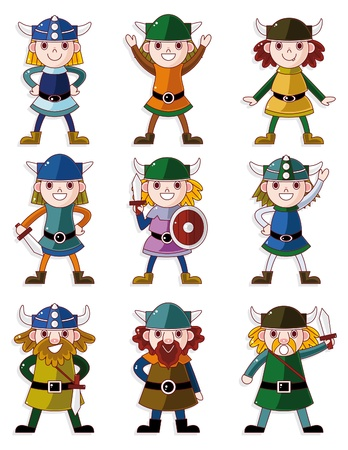 cartoon warrior: cartoon vichingo Pirate set di icone Vettoriali