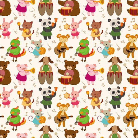 wrappers: Cartoon animal play music seamless pattern