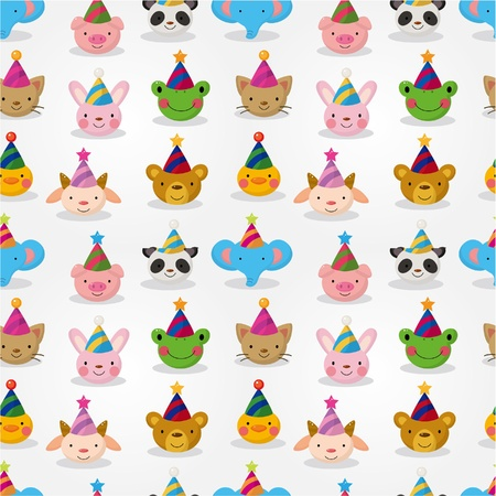 Cartoon party animal head seamless pattern Vector