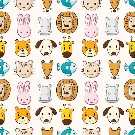 Cartoon animal head seamless pattern