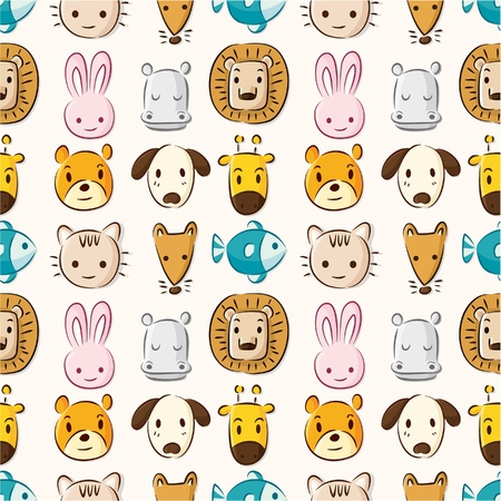 draw animal: Cartoon animal head seamless pattern