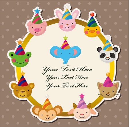 Cartoon Party animal head card Vector