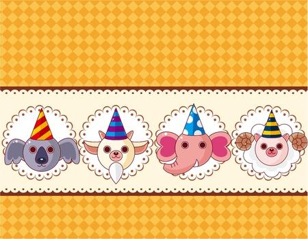 Cartoon party animal head card Vector