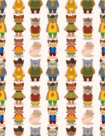 cartoon cat family seamless pattern Stock Vector - 10260182