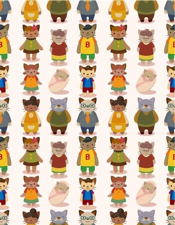 cartoon cat family seamless pattern Stock Vector - 10260182