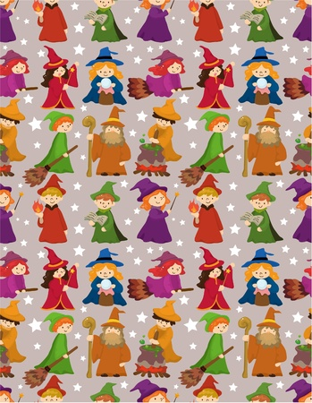 sorcerer: cartoon Wizard and Witch magic seamless pattern