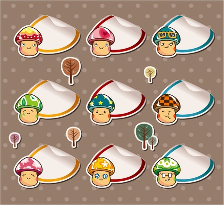 Cartoon mushroom Stickers ,Label Stock Vector - 10260184