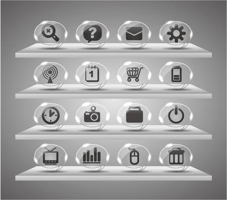 clock radio: Iconos de web de ponencia, botones de vidrio transparente