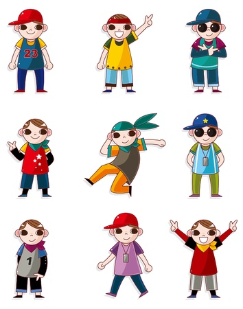 cartoon hip hop boy dancing icon set