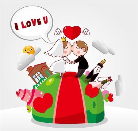 bridegroom: cartoon wedding card  Illustration