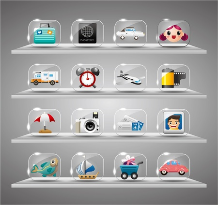 a cartoon film: Cute travel icons collection,Transparent glass button