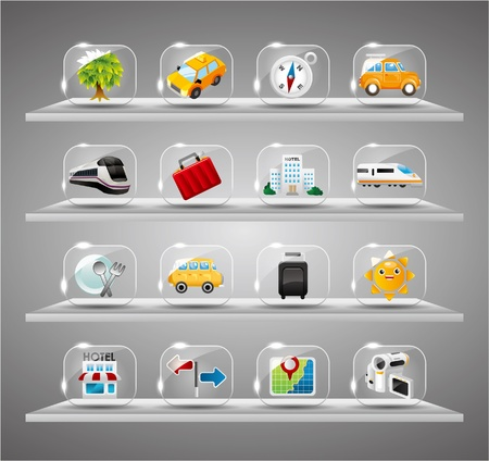 Cute travel icons collection,Transparent glass button Stock Vector - 10268805
