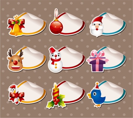 Cartoon Xmas Label Stickers Vector