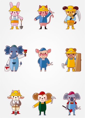 Cartoon animal worker icons,Building industry Stock Vector - 10278639