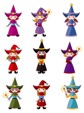 cartoon Wizard  icon set Stock Vector - 10278640