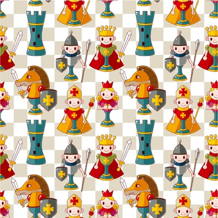 bishop chess piece: cartoon chess seamless pattern