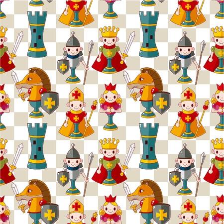 chess knight: seamless pattern di cartone animato scacchi