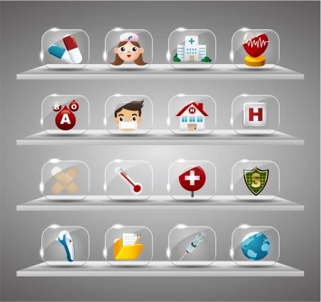 nurse injection: Cartone animato medica e del focolare, vetro trasparente pulsante Vettoriali