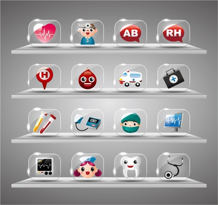 luster: Cartoon Medical And Hearth,Transparent glass Button Illustration