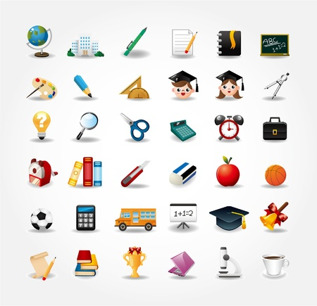 Conjunto de iconos de la escuela, de regreso a la escuela botón Foto de archivo - 10278641