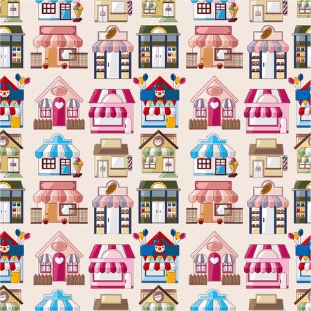 sweet shop: Cartoon casa  tienda patr�n transparente Vectores