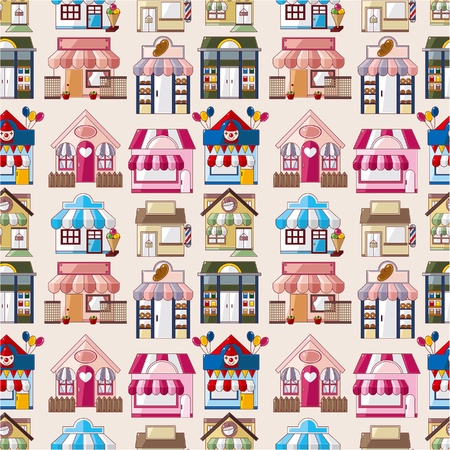 wrappers: cartoon house  shop seamless pattern