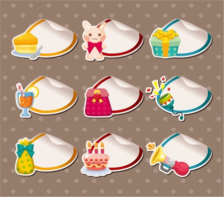cheese cake: Cartoon birthday Label Stickers Illustration