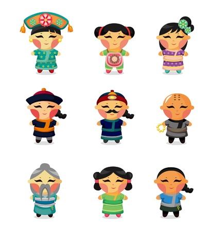 cheongsam: cartoon Chinese people icon set