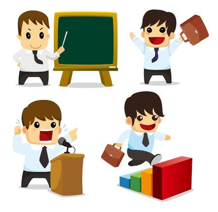 hombre caricatura: 4 caricatura divertida Oficina trabajo conjunto, iconos Vectores