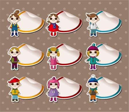 Cartoon Winter child Stickers,Label Vector