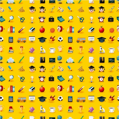 graduation background: Cartoon school icons seamless pattern