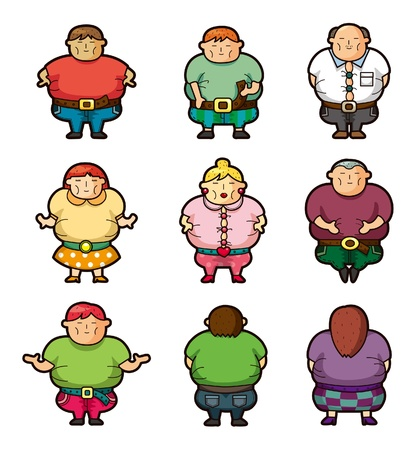 obese person: Cartoon Fat people icons