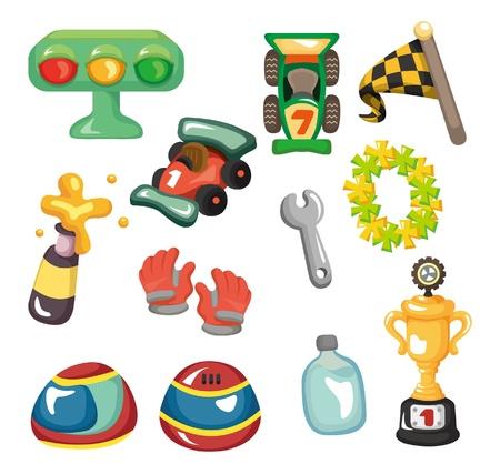 car race track: cartoon f1 car racing icon set  Illustration