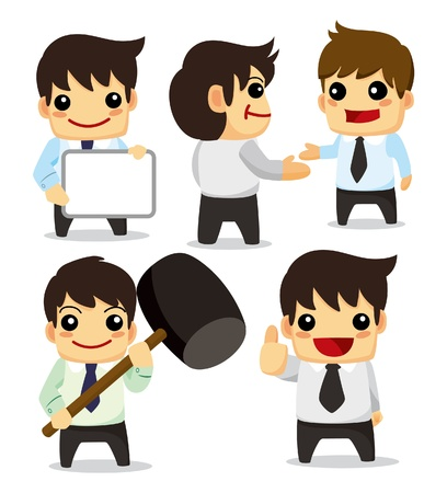 whiteboard: 4 funny cartoon office worker set ,icons Illustration