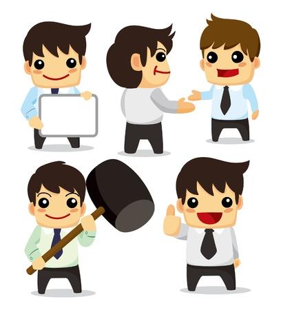 caricatura: 4 funny cartoon Oficina trabajador set, iconos
