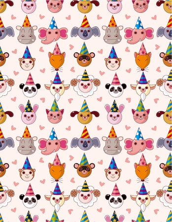 Cartoon Party Animal head seamless pattern Vector