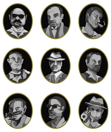 vintage cigar: cartoon mafia icon set,label button