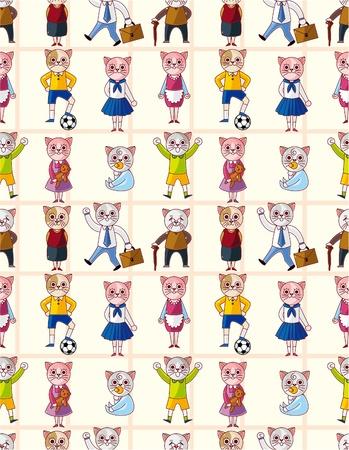 cartoon cat family seamless pattern  Vector