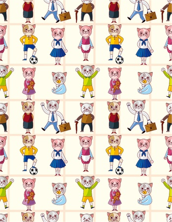 happy couple at home: cartoon cat family seamless pattern  Illustration