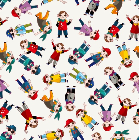 young culture: cartoon hip hop boy dancing seamless pattern  Illustration